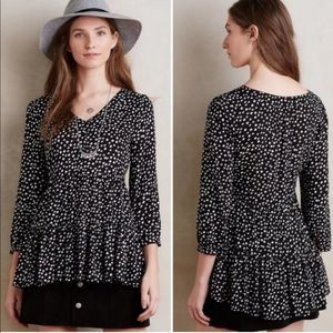 Maeve Black White Tiered Blouse